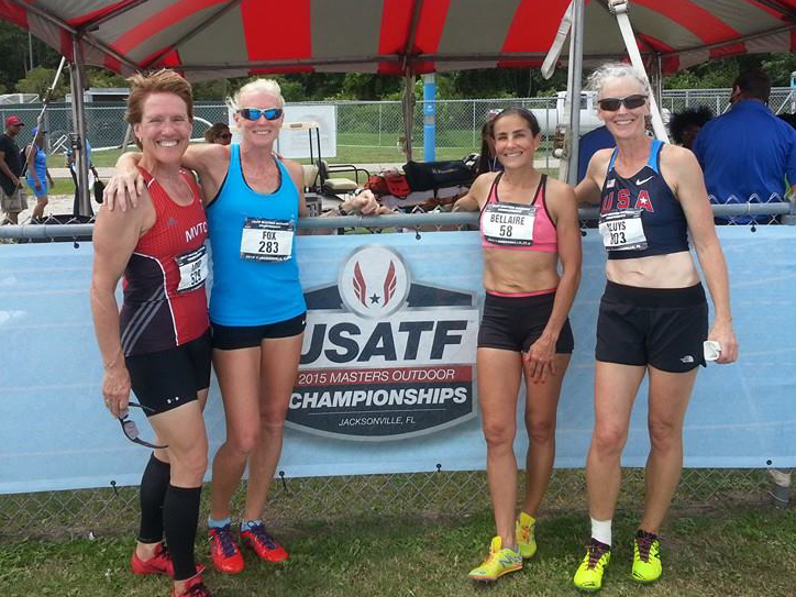 Susan, Vicki, Cheryl and Daphne finished hard meet with 4x4 record at Jacksonville.