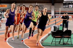 Brad at right leads field in Boise State mile. (Photo by Matt Garner)