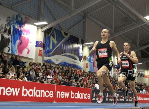 Brad wins the New Balance masters mile Feb. 2 in Boston, despite cold.