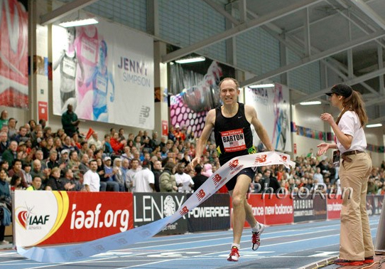 Brad fell 5 seconds short of listed M45 world indoor record in the mile. So what.