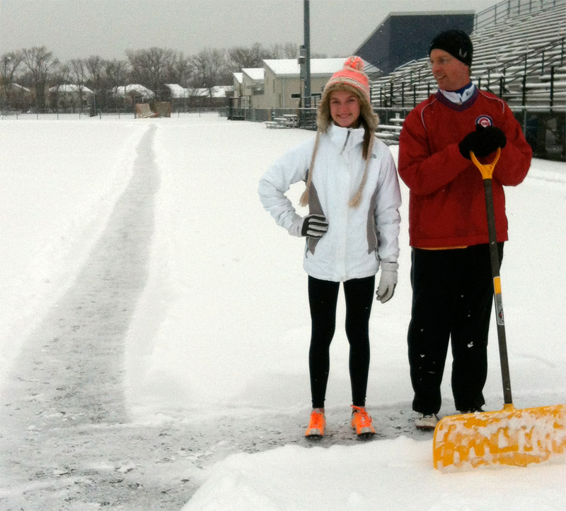 Cool cats Jenna and Jason train on a track cleared of snow in Highland Park, Illinois.