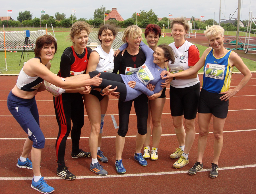 Christa is celebrated after smashing W75 hep record in Germany over the weekend.