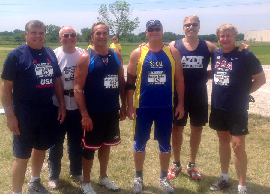 Doug wears SoCal Track Club color at Olathe nationals. From left to right at the M60 shot are George Murphy, Gary Schmidt, Joe Myers, Doug, Tim Muller and Ed Hearn.