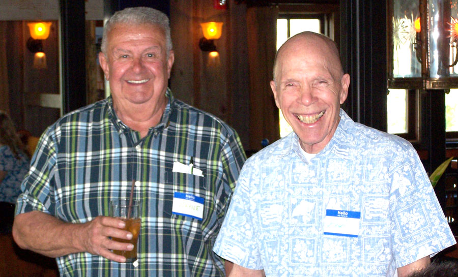 Wayne Sabin (left) and Bob Hewitt enjoyed brews after Portland Masters Track Classic.