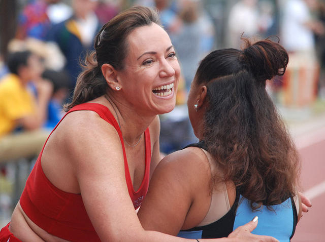 Liz Palmer, shown at 2015 Pasadena Senior Games, triggered latest debate.