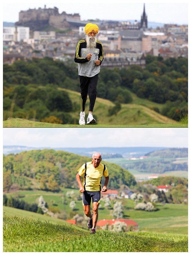 Singh is shown at top and vague runner (centenarian or not?) is in bottom shot used in the Athletic Greens story.