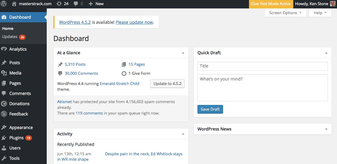 Here's what I see on the backend of WordPress. Note the 4.1 million spam comments blocked.