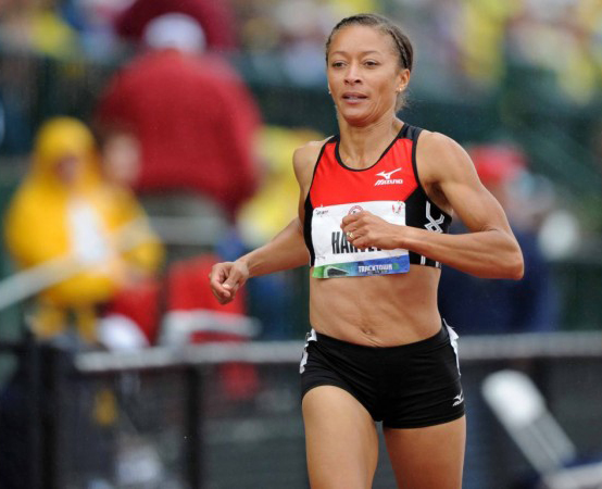 Alisa Harvey races at 2012 Olympic Trials in masters 400 exhibition.