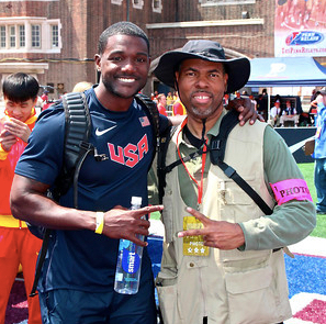 Justin Gatlin and William Anthony at 2015 Penn Relays.