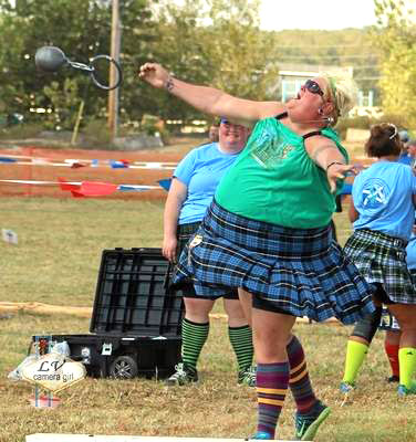 Beth lets fly in Scottish Games.