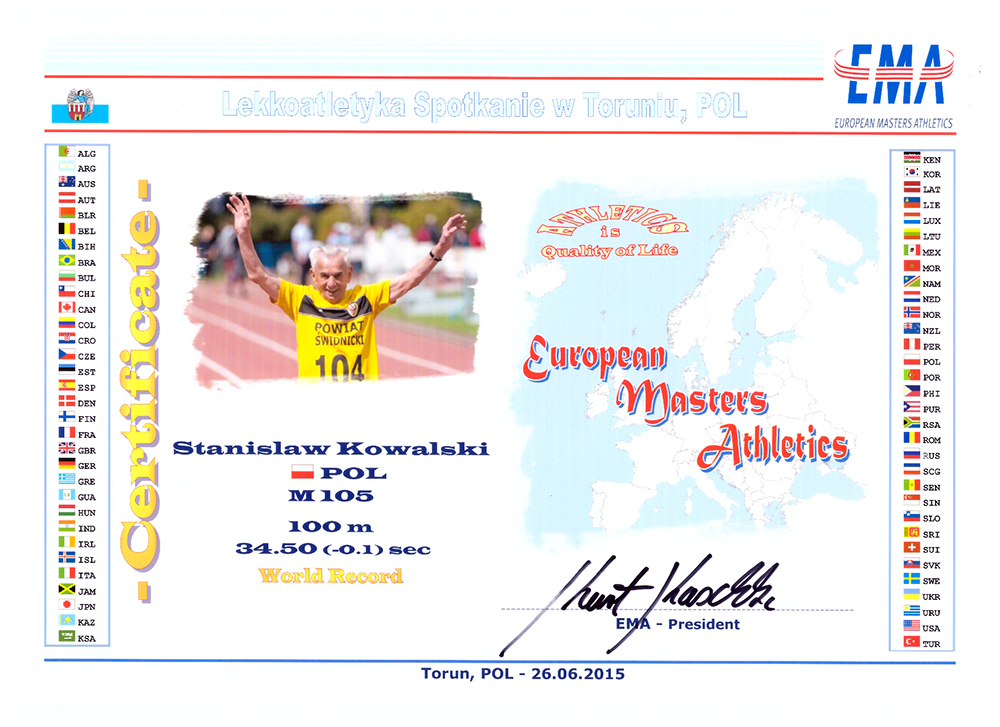 Stan gets credit for M105 record and being the first in age group to have an official record.