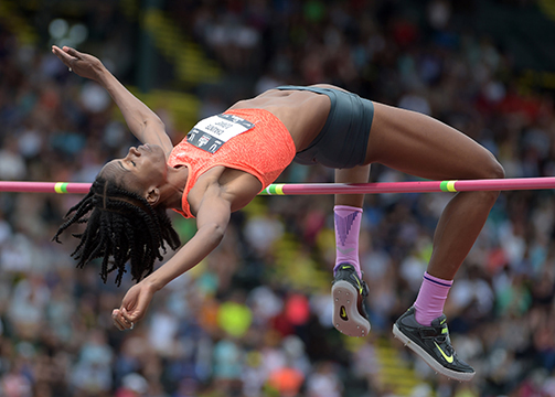 Chaunte Lowe wins at 6-3 1/4 (1.91) in 2015 USA Championshipsat Hayward Field.
