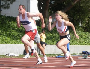 Colleen raced coach/friend Doug Smith in 2005.