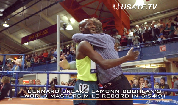 Bernard is embraced by former WR man Eamonn Coghlan after  M40 mile record. See the USATF episode.