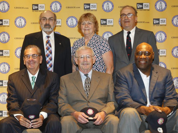Cindy, also known for power lifting, poses with other Buffalo HoF inductees.