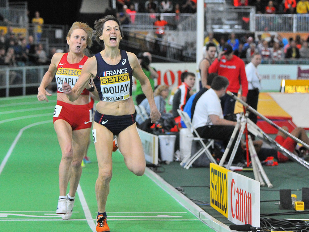 Helene Marie Douay reacts after winning the masters women's 800 a IAAF Portland worlds.