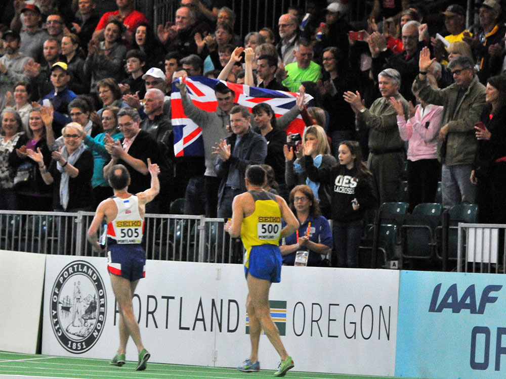 David Wilcock gives his British fans in the Portland stands a thumbs up.