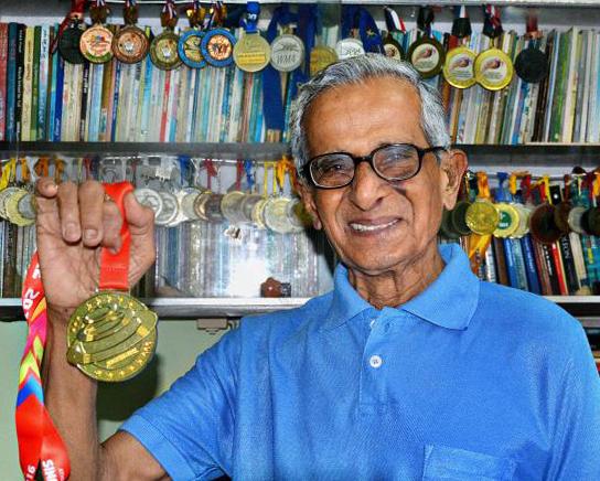 V. Sriramulu displays gold medal from Asia Masters Athletics Championships. Photo by  C.V. Subrahmanyam