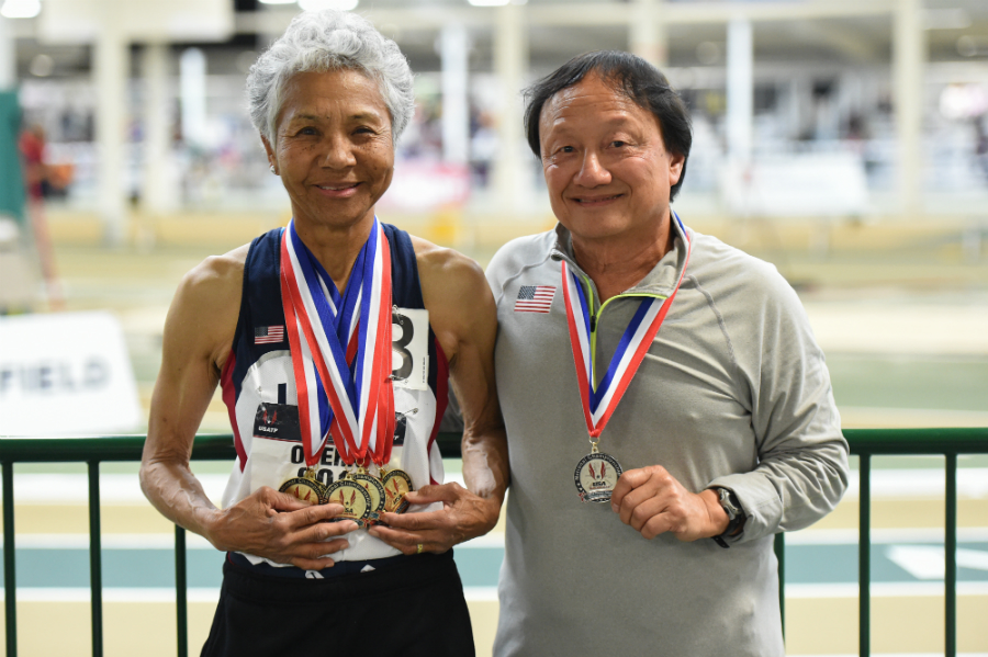 Irene Obera won all of her events and added to her W80 WRs by running the 800 in 4:49.74. Her old friend Alan Kolling displays a medal as well.
