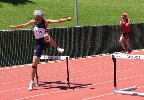 No time like 80 to start running hurdles! Go Irene!