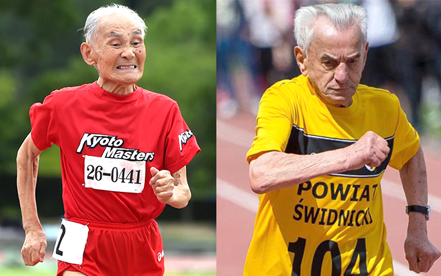 Let's see Hidekichi (left) and Stanislaw race 60 meters at IAAF World Indoor Championships in Portland for M105 bragging rights.