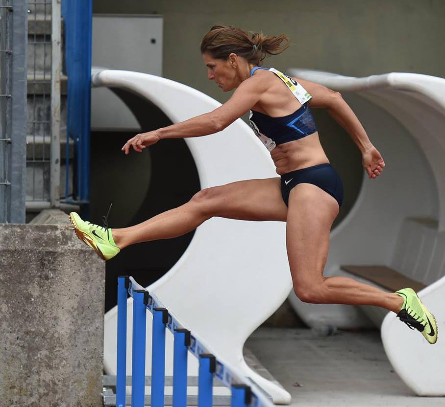 Rob Jerome's stunning shot of Joy Upshaw in the 300 hurdles at Lyon.