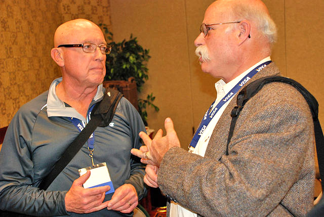 Jerry (right) with George Matthews at 2008 Reno annual meeting.