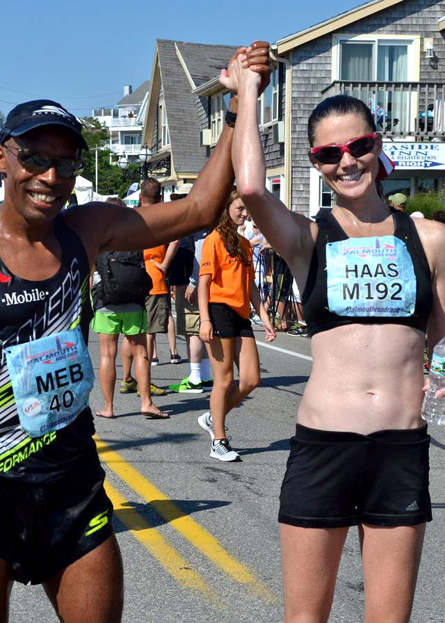 Kara finished with Meb at 2013 Falmouth race.