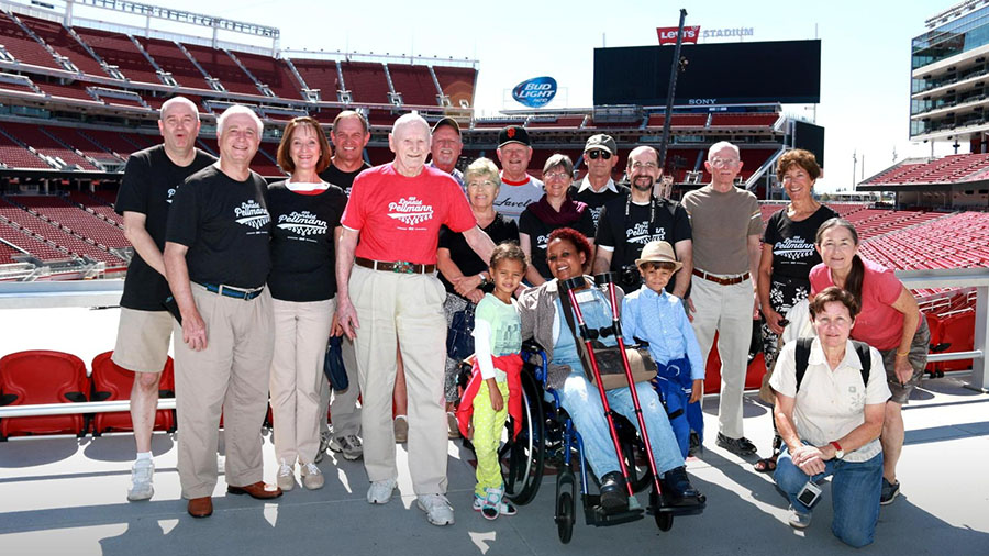 Don (in red) with family and fans at Levi Stadium.