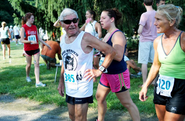 Lou looked frsh after a 5K race in 2012.