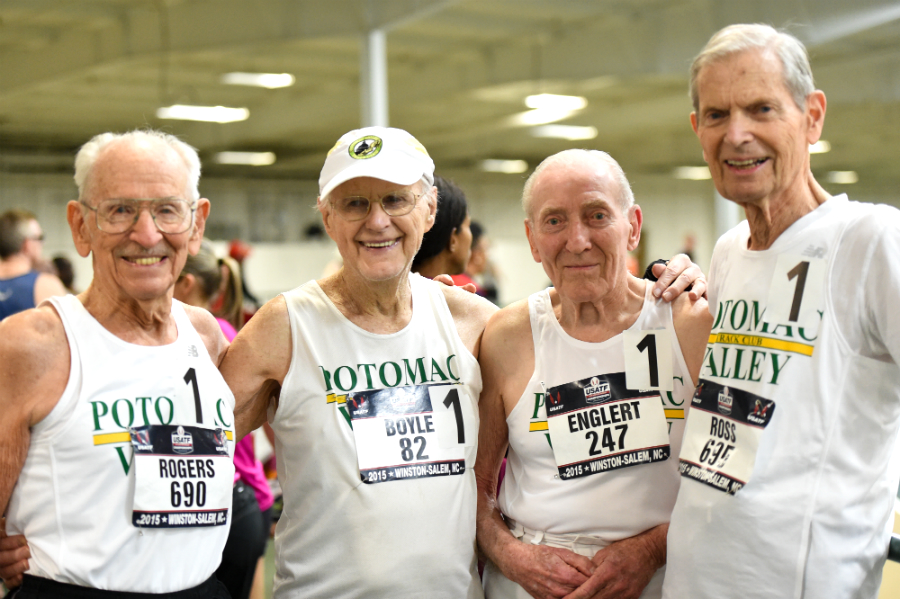 Potomac Valley TC foursome of (from left) Orville Rogers, 97; Charles Boyle, 91; Roy Englert, 92; and Charles Ross, 92, became the first over-90 relay team in indoor history. Potomac Valley Track Club - A
