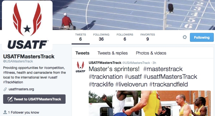 USATF masters track has joined the 21st century at last with social media accounts.