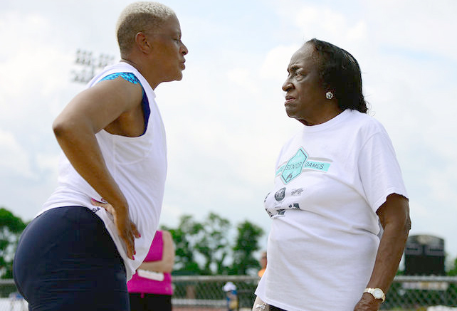 Taz Lombardo's great shot of Myrle and Mom consulting at Missouri State Senior Games.