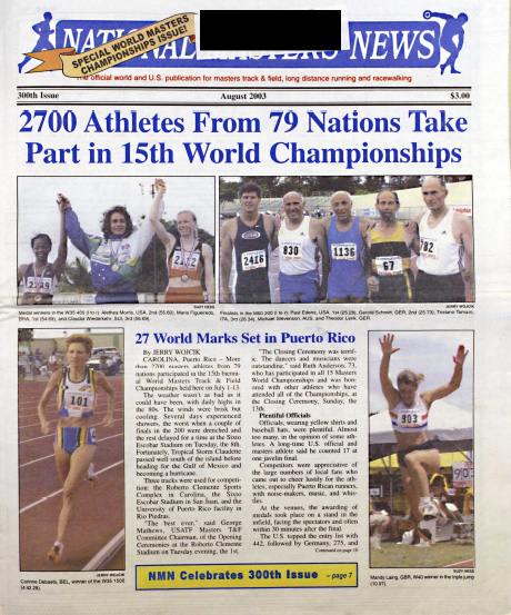 The 300th issue of National Masters News — September 2003.