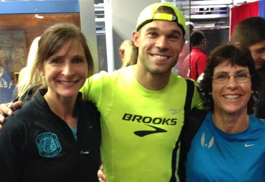 Joan Hunter and  Julie Hayden say posing with world silver 800 medalist Nick Symmonds made their day.