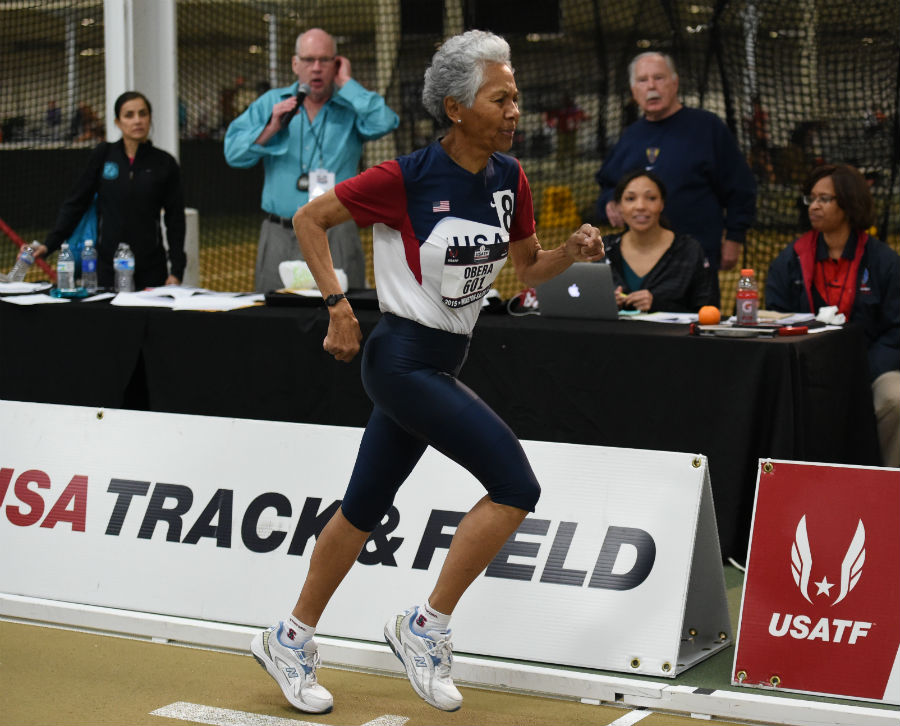 Irene keeps her form in the concluding 800 event of her record pentathlon.