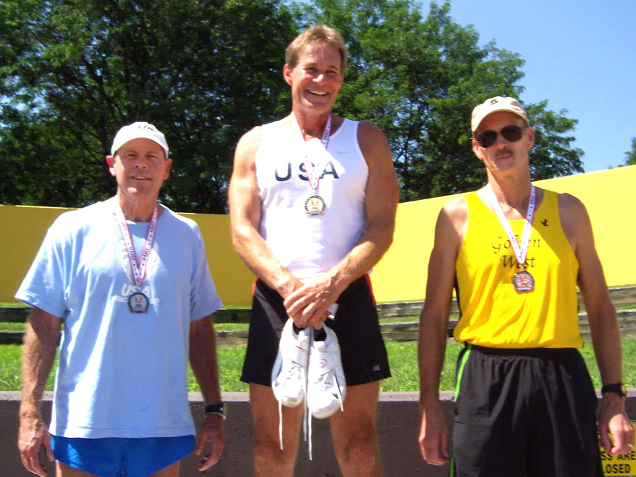 Vault specialist Doug (at right) was on a 2011 medal stand with Bubba Sparks (left) and Gary Hunter.