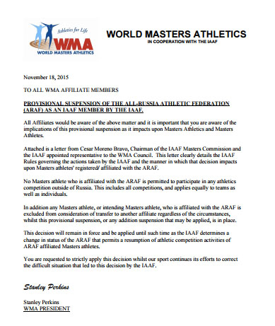 WMA announcement on Russian masters.