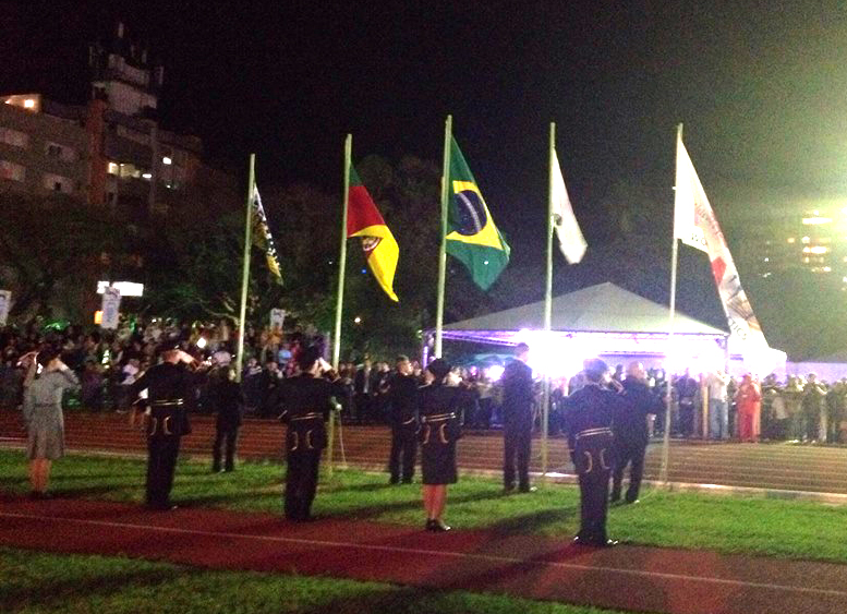 Photographer Dave Proffitt says stands were packed in Porto Alegre for start of ceremonies.