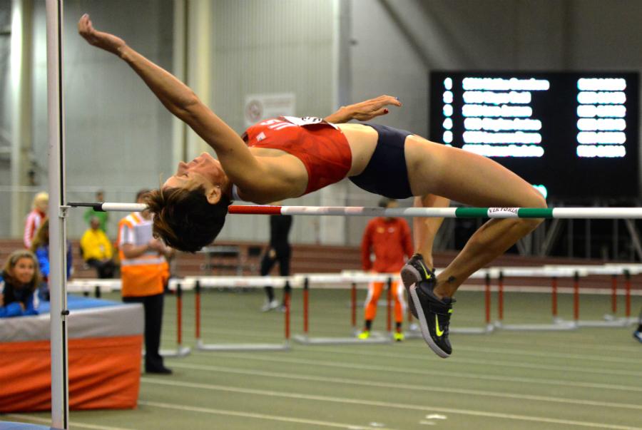 American W35 Rachel Guest jumps in pentathlon.