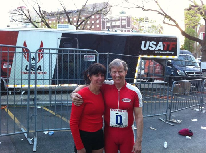 Roger and Diane pose at Penn Relays.  Their engagement was announced on Facebook.