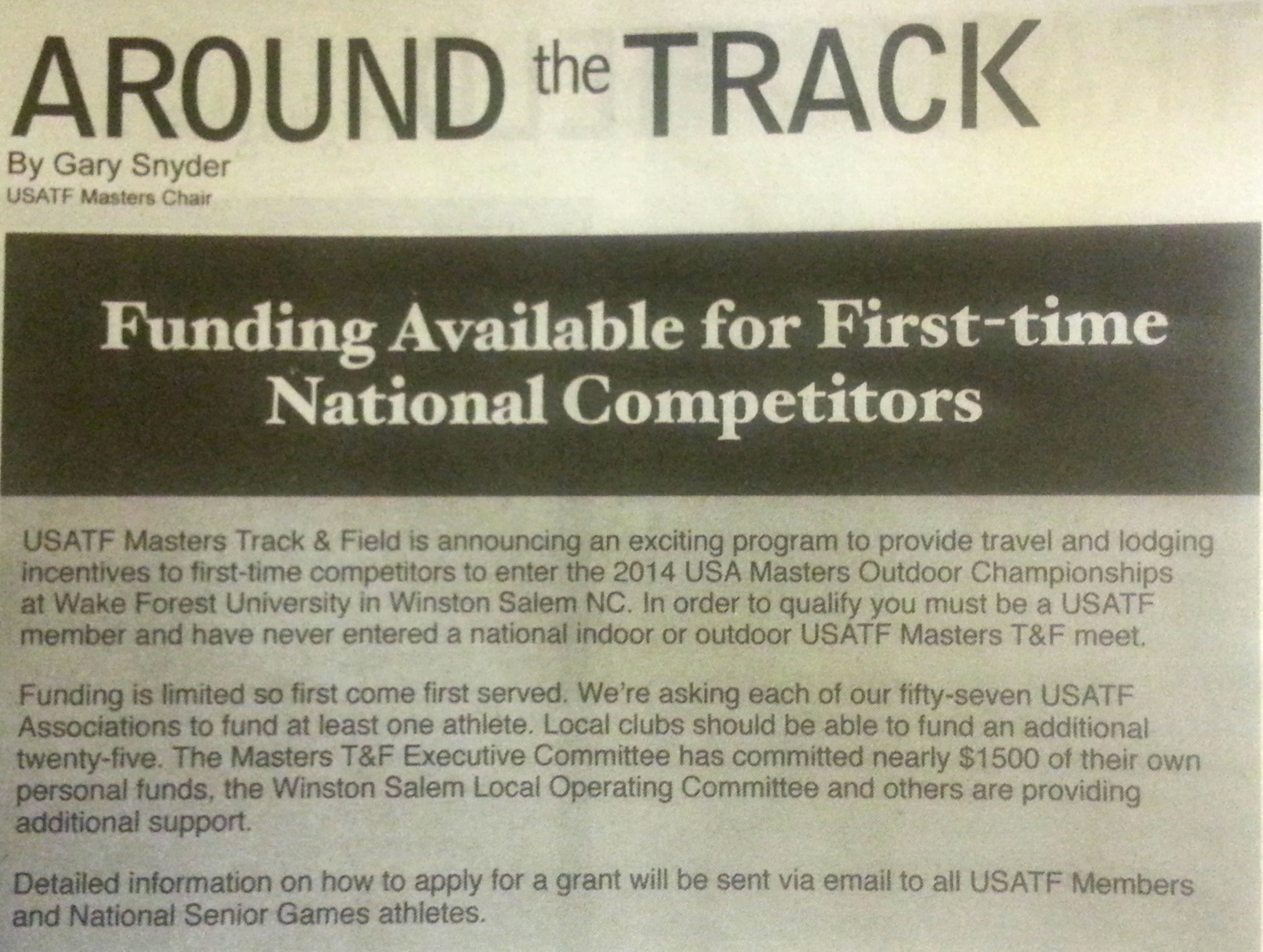 Click on the image to read Gary Snyder's offer of free travel and lodging to 2014 nationals.