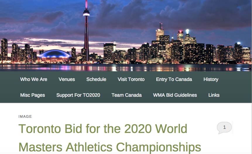 Homepage of 2020 bid site for Toronto WMA world masters outdoor championships.