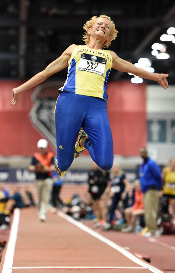 Rachel Guest jumps during her latest AR in pentathlon. Rob Jerome photo