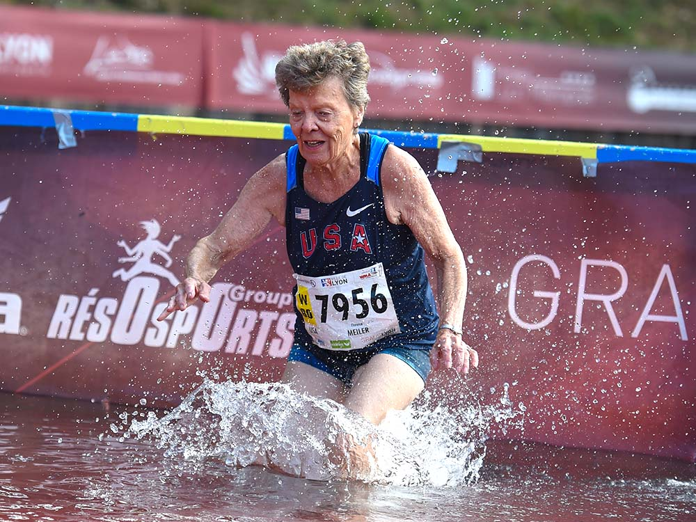 At 81, Flo Meiler was the oldest female steeplechaser at Lyon. Photo by Rob Jerome