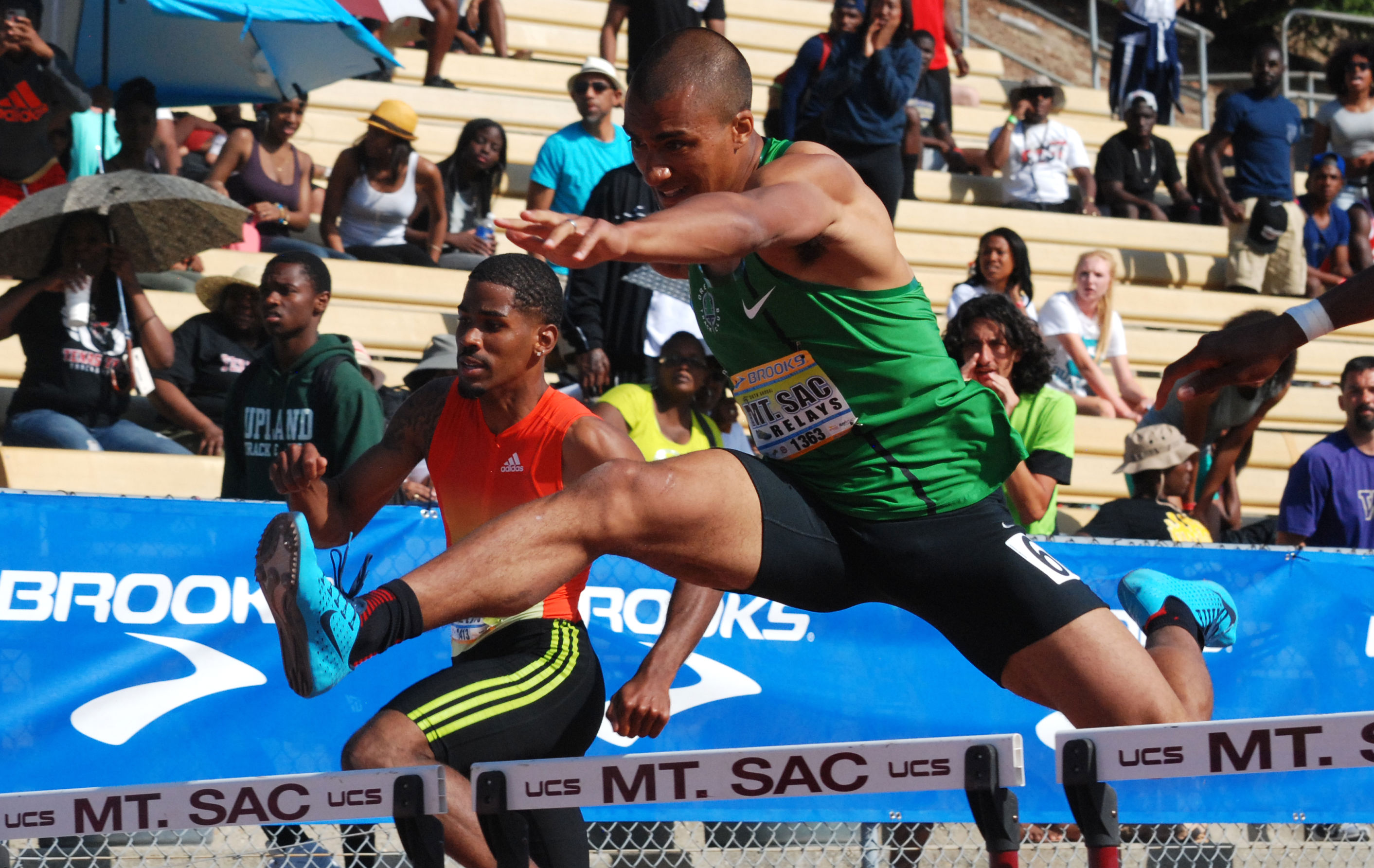 Ashton took the 10th barrier in his 400H debut at Mt. SAC Relays like a pro.