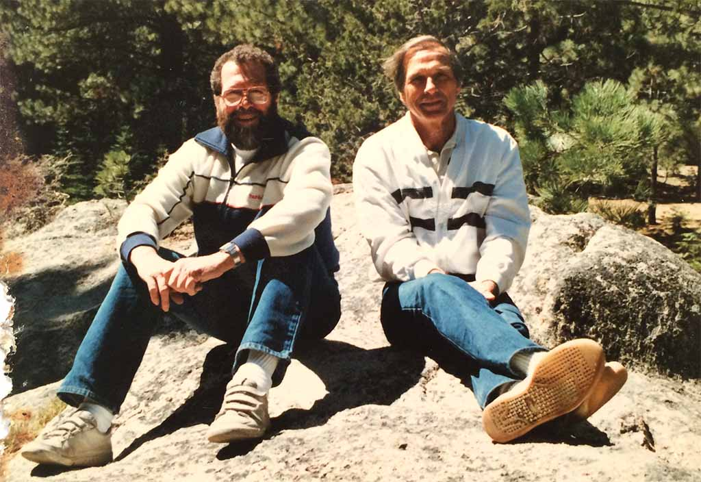 Dick (left) and brother Bud during mid-1970s trip to the Sierra Nevadas.