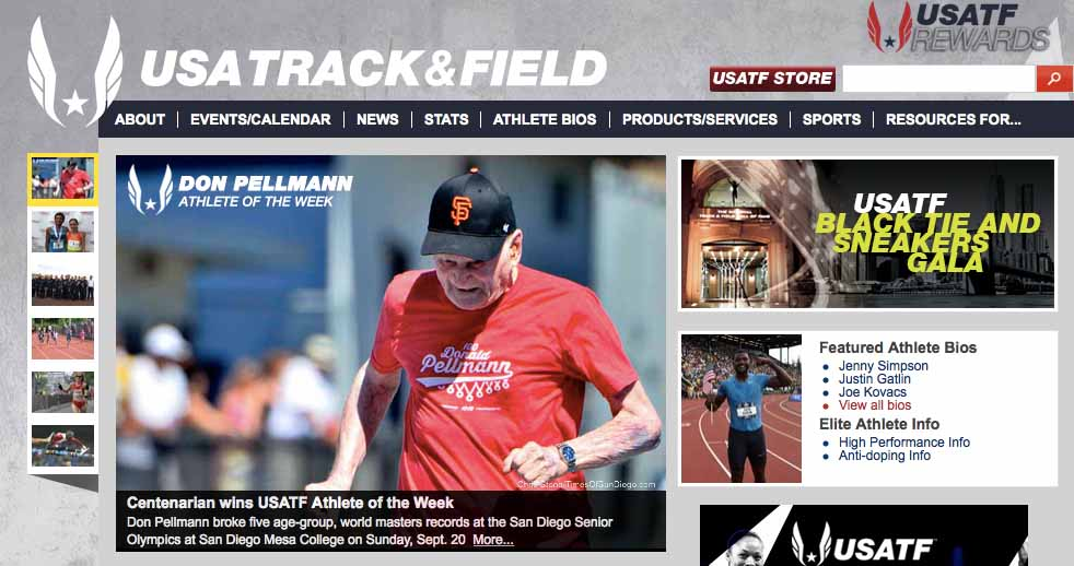 Don's image in the 100-meter dash appears all over the world. Chris Stone photo
