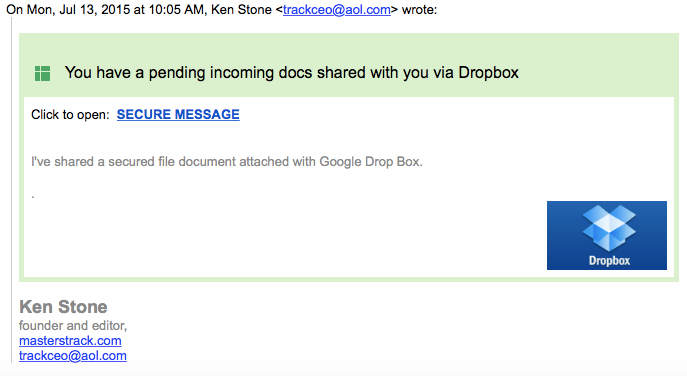 This note is circulating around the Web from other email addresses as well. Just delete.