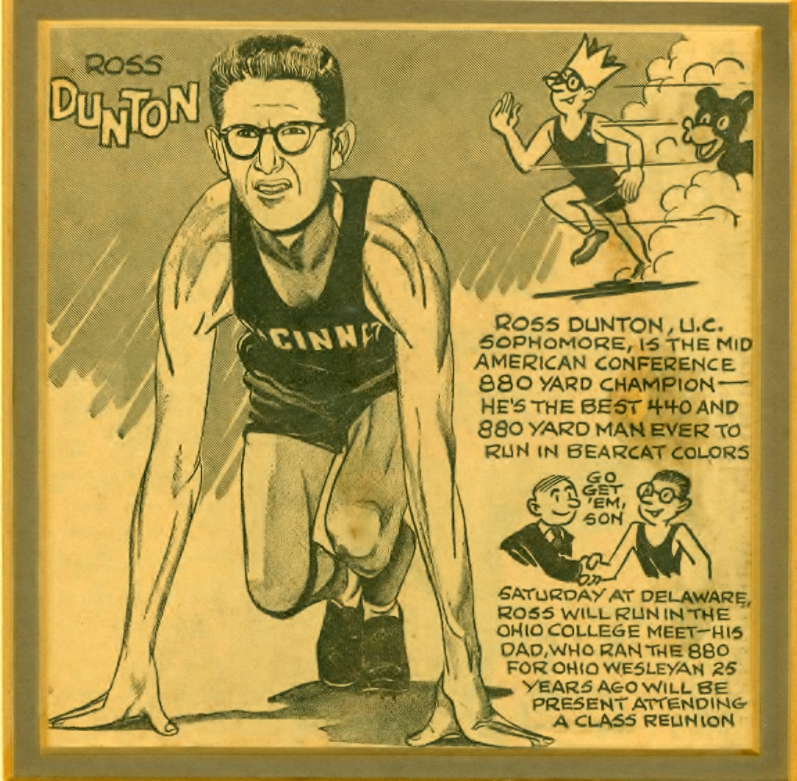 Ross Dunton II provided this old clip of his track star dad.